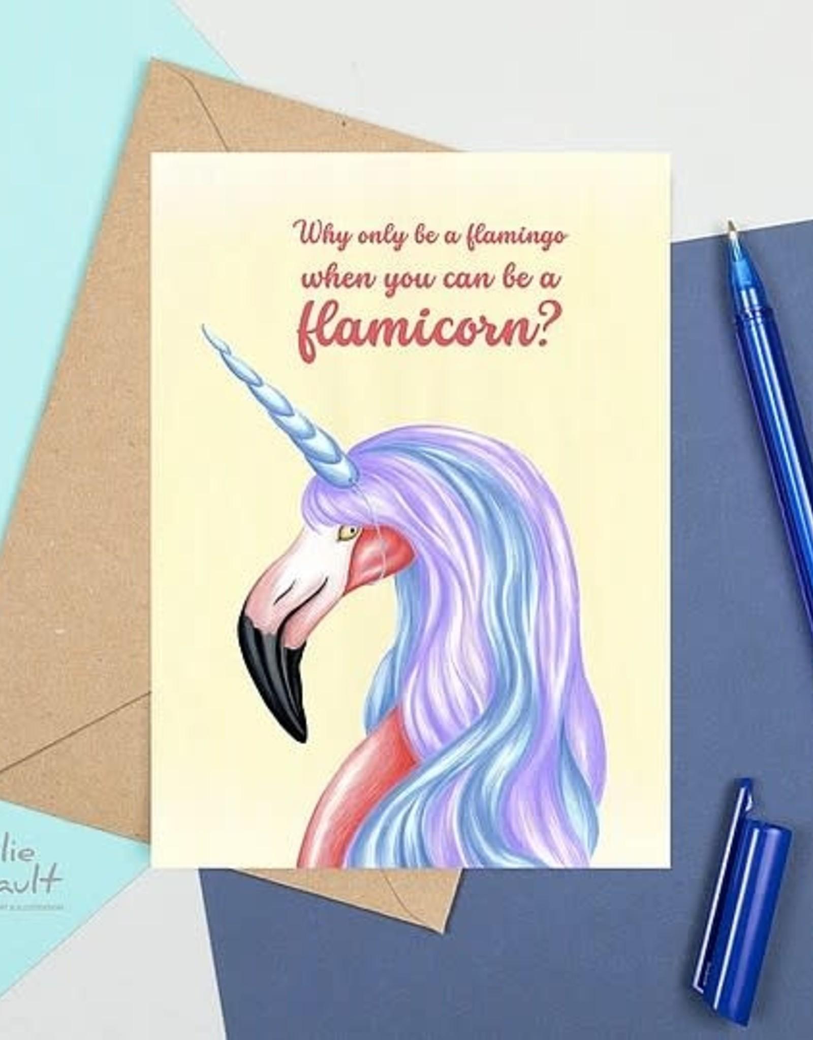 Amelie Legault Carte Amélie Legault Flamant rose Unicorn