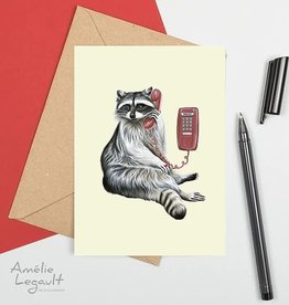 Amelie Legault Carte Amélie Legault Raton laveur au téléphone