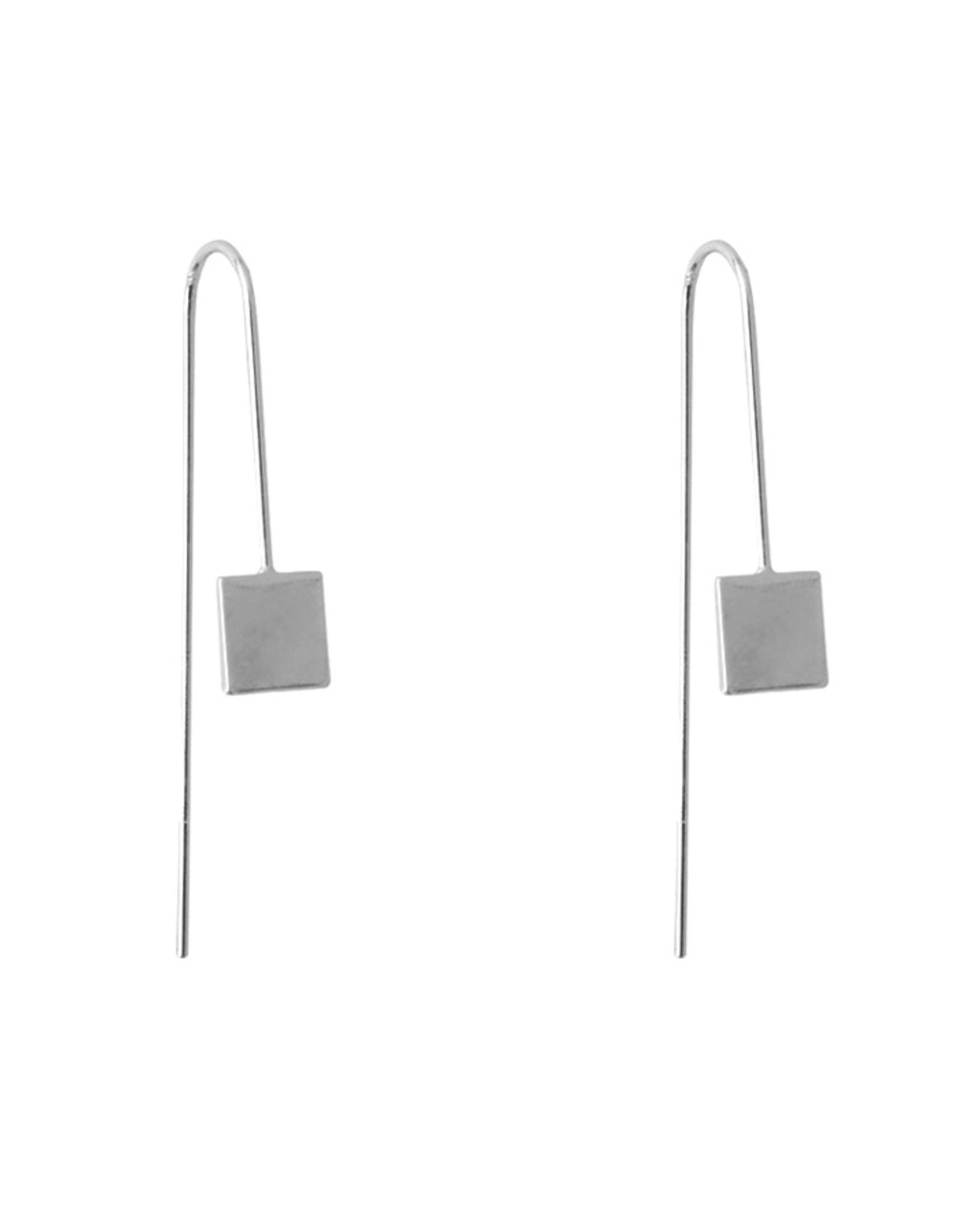 Lost & Faune BO Fils et pendentifs géométriques AH2021 Lost & Faune Carré Argent