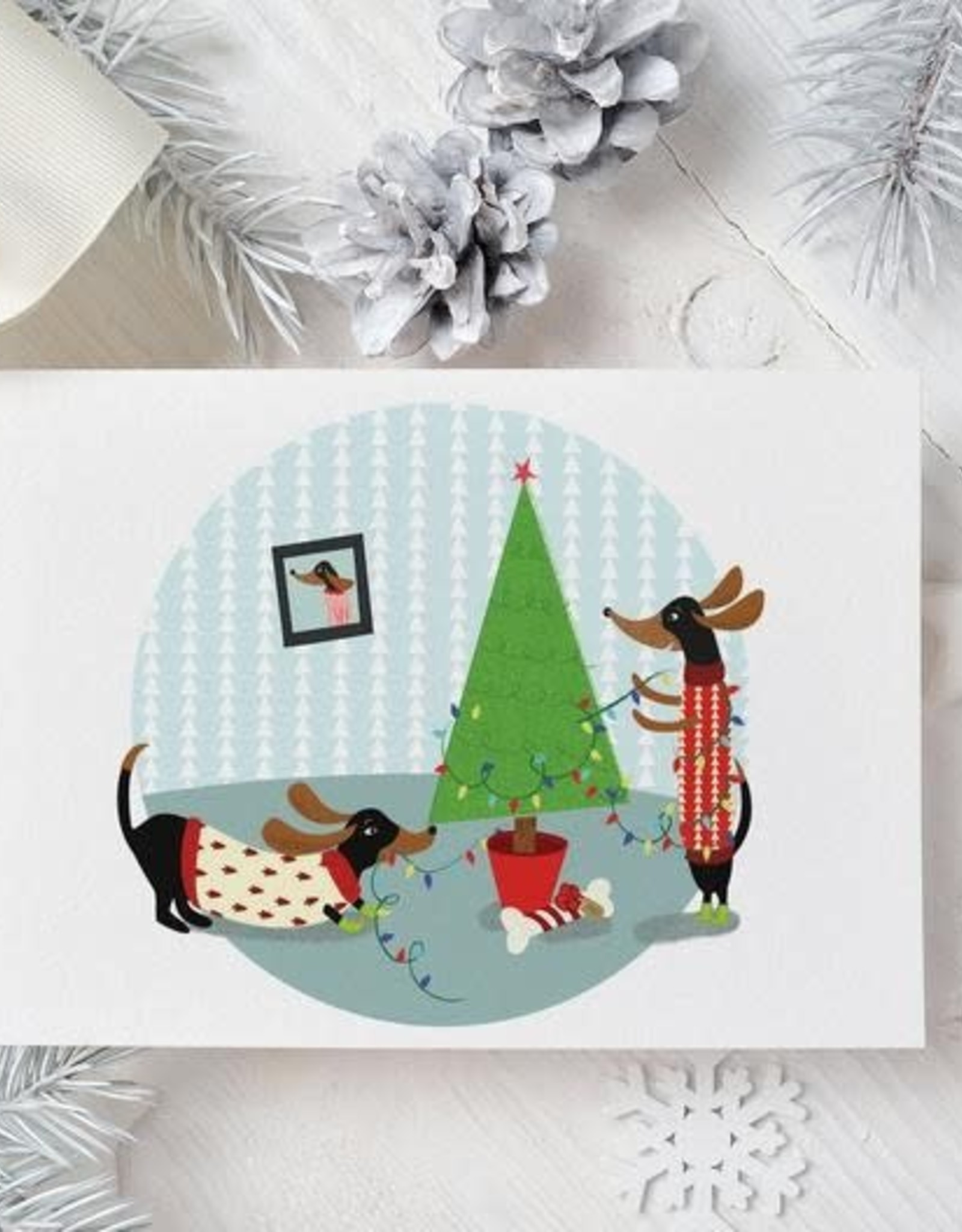 Moon and Sparrow Carte Moon & Sparrow Dachshund Holiday Xmas Tree