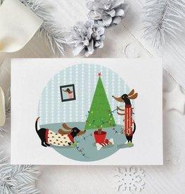 Moon and Sparrow Carte Moon & Sparrow Dachshund Holiday Xmas Tree