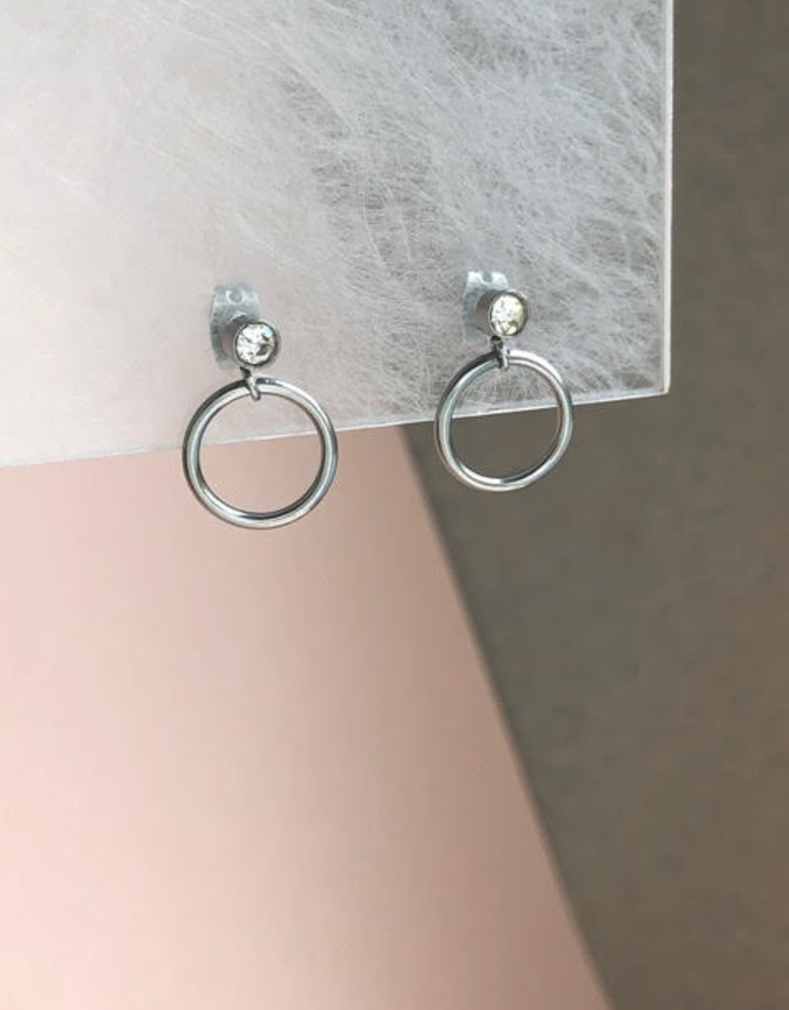 Mohawki Boucles d'oreilles Diamant Anneau 12 mm Mohawki Inox