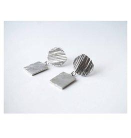 Marmod8 Boucles d'oreilles Circles-Squares Texture Marmod8 Argent