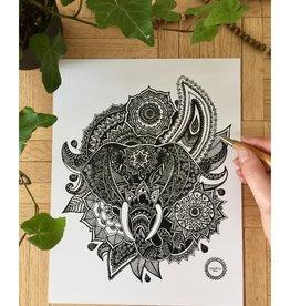 Mandalove by Florence Affiche Mandalove Tête Éléphant