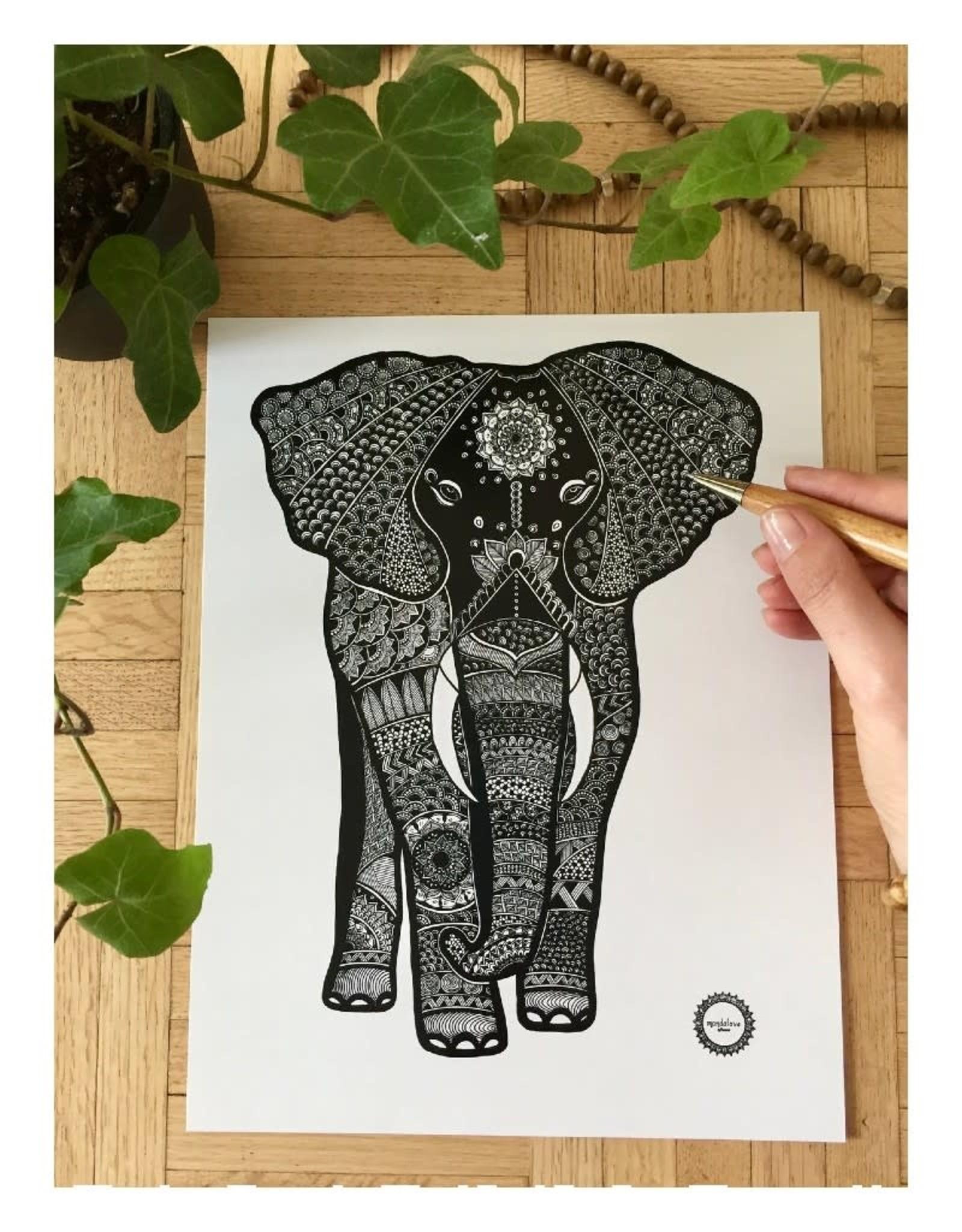 Mandalove by Florence Affiche Mandalove Éléphant Full