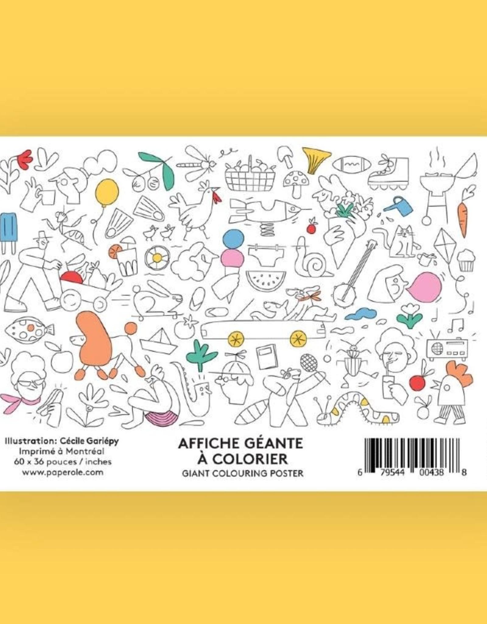 Paperole Affiche géante à colorier Paperole Cécile Gariépy