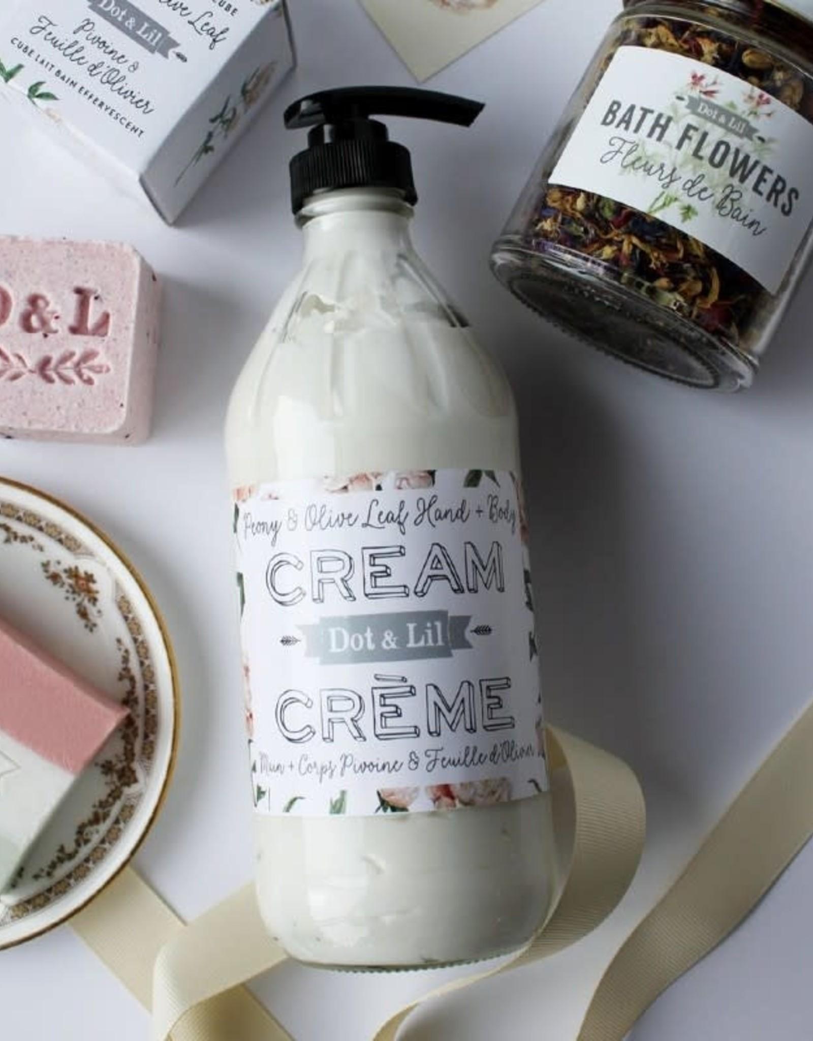 Dot and Lil Crème Mains et Corps 16 oz. Dot & Lil Pivoine & Feuille d'olivier