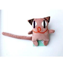 Raplapla Serge le chat en velours Rose Raplapla