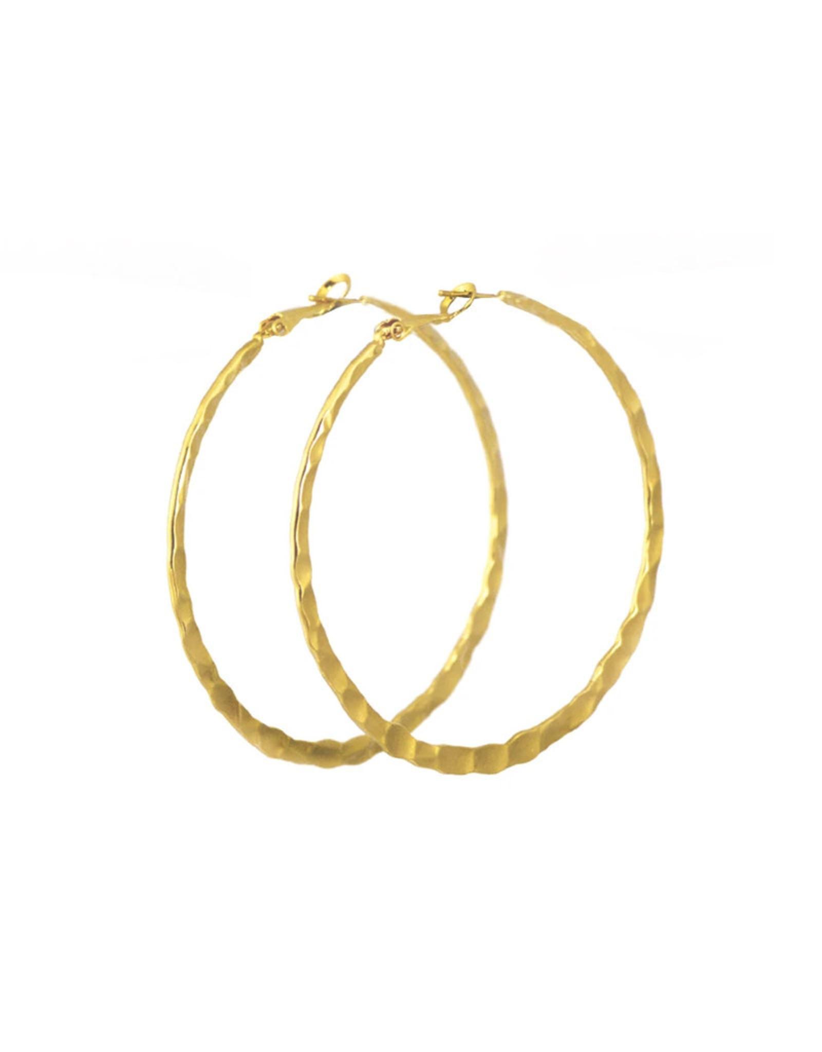Lost & Faune Boucles d'oreilles grands anneaux Martelés Lost & Faune PE21 Or