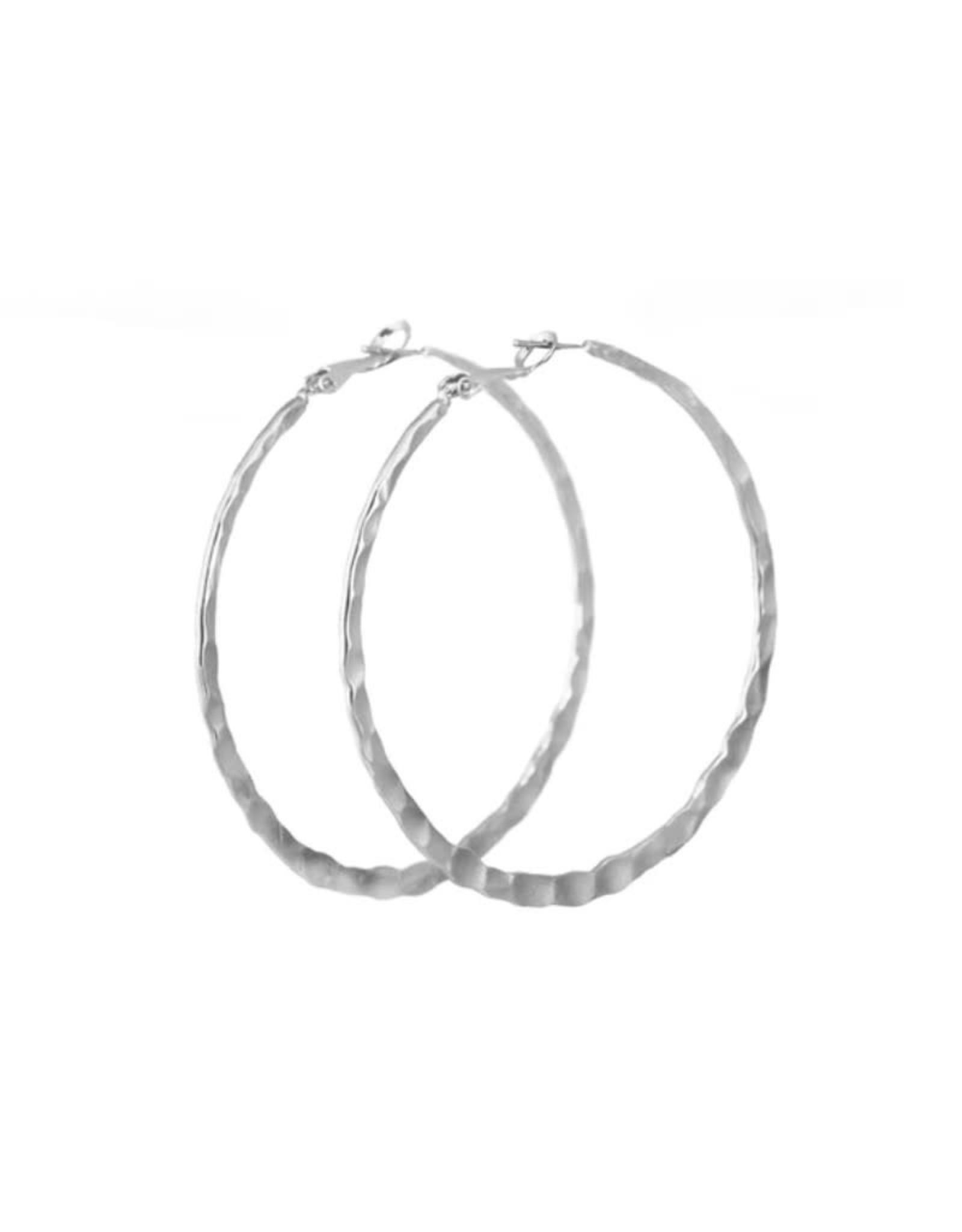Lost & Faune Boucles d'oreilles grands anneaux Martelés Lost & Faune PE21 Argent