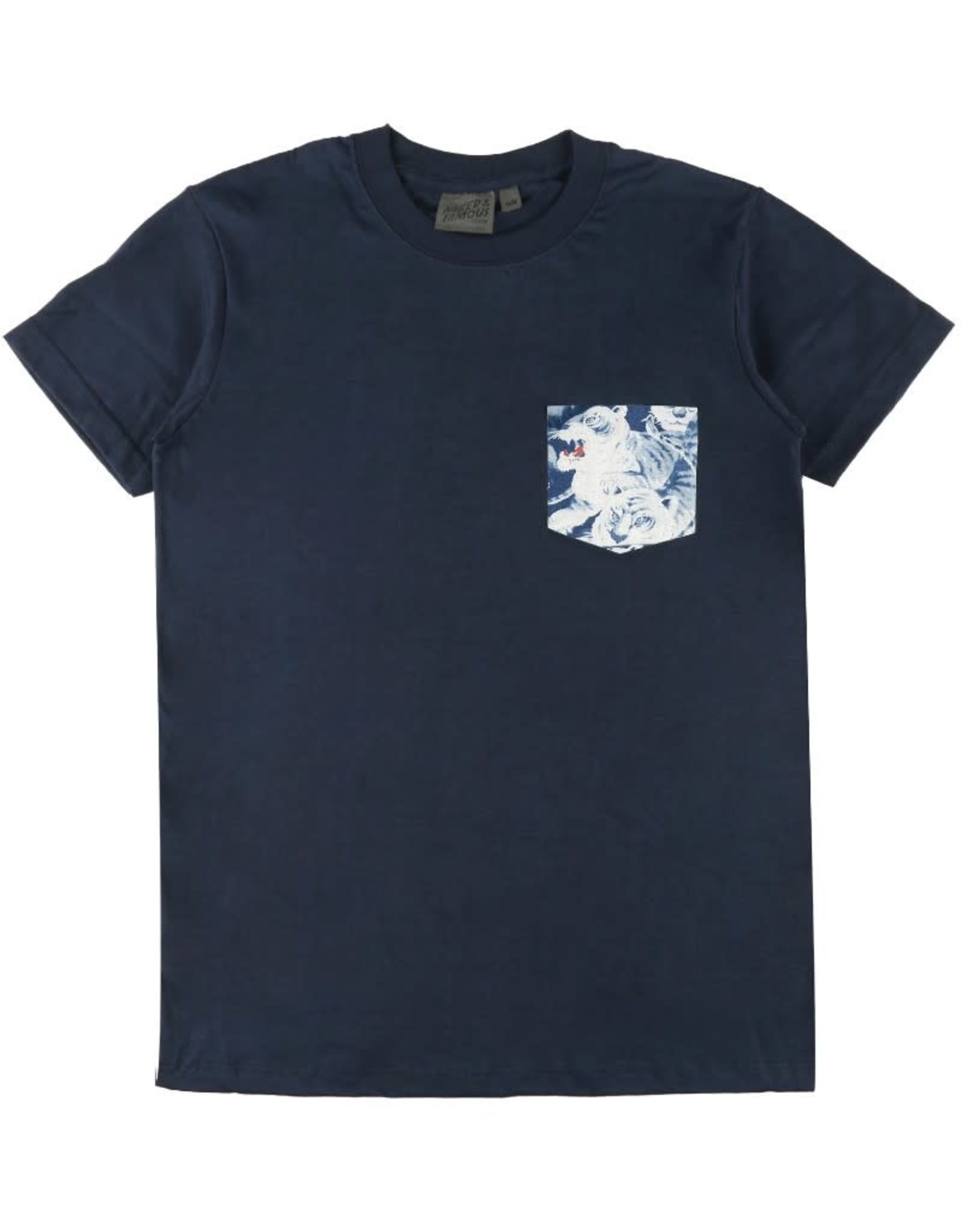 Naked and Famous Pocket Tee PE21 Naked & Famous Navy Indigo Tigers