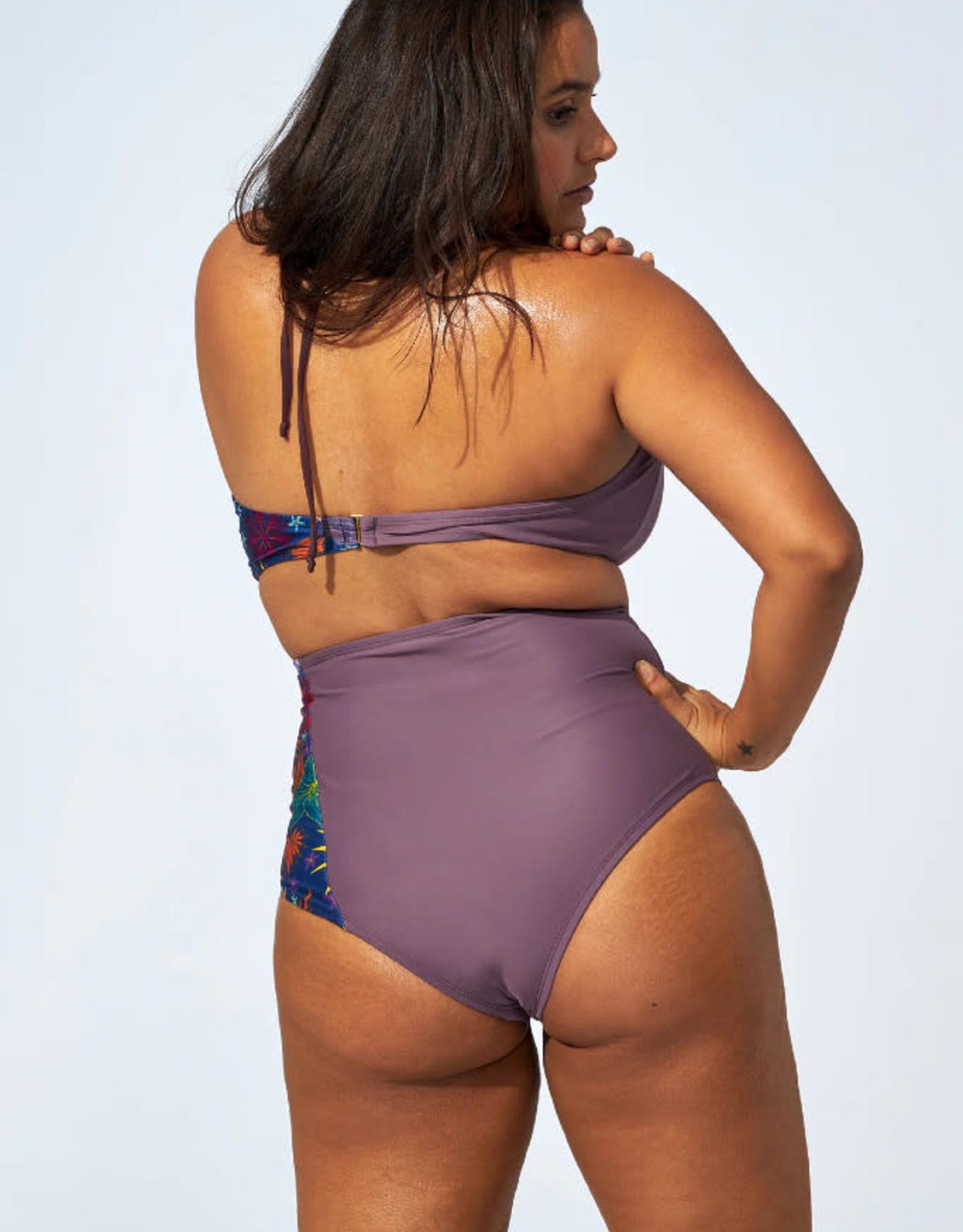Selfish Swimwear Bas de bikini taille haute Florence Selfish Swimwear PE21 Mauve-Floral