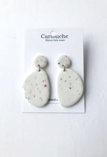CartoucheMTL Boucles d'oreilles Olive CartoucheMTL Blanc confettis