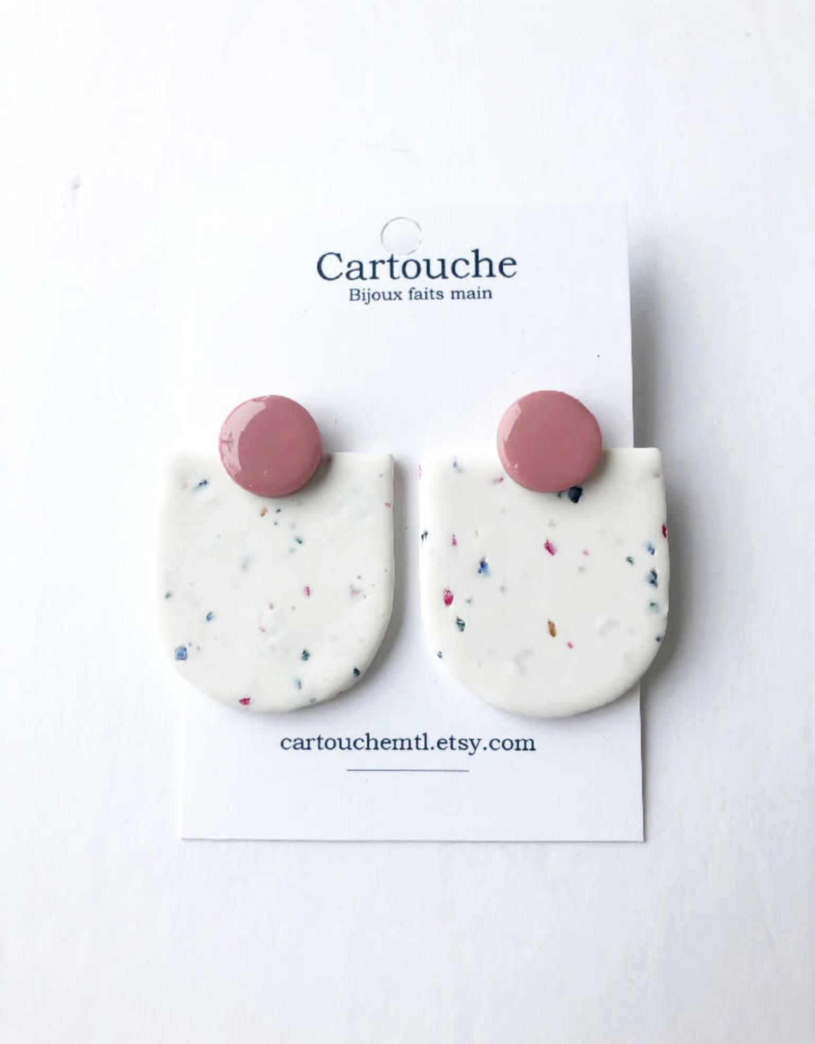CartoucheMTL Boucles d'oreilles Audrey blanc confettis CartoucheMTL Rose