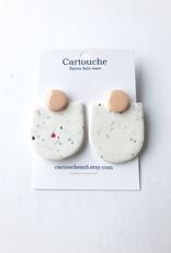 CartoucheMTL Boucles d'oreilles Audrey blanc confettis CartoucheMTL Pêche