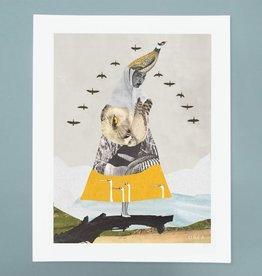 DRÉA Collage Affiche 8.5X11 La Dame aux oiseaux Dréa Collage