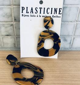 Plasticine Boucles d'oreilles Jane Plasticine Marbré Noir & Doré