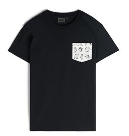 Naked and Famous Pocket Tee AH2122 Naked & Famous Yoga Cats Black