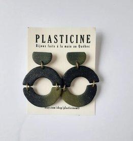 Plasticine Boucles d'oreilles Nico AH2122 Plasticine Dégradé Noir/ Vert Brillant