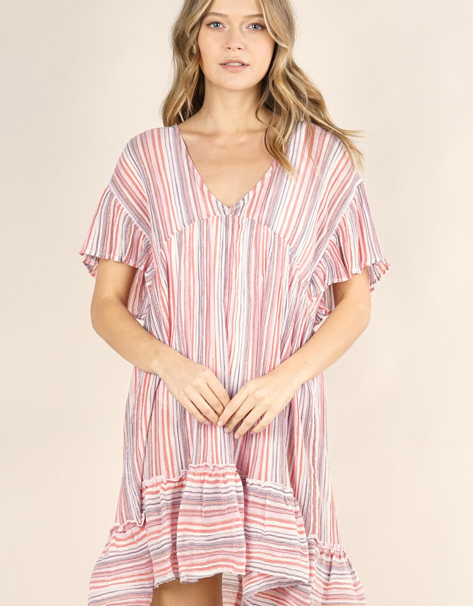 Lovestitch Striped Ruffled Mini Dress