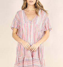Lovestitch Striped Ruffled Mini Dress