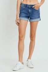 Just Black Cuffed Denim Shorts