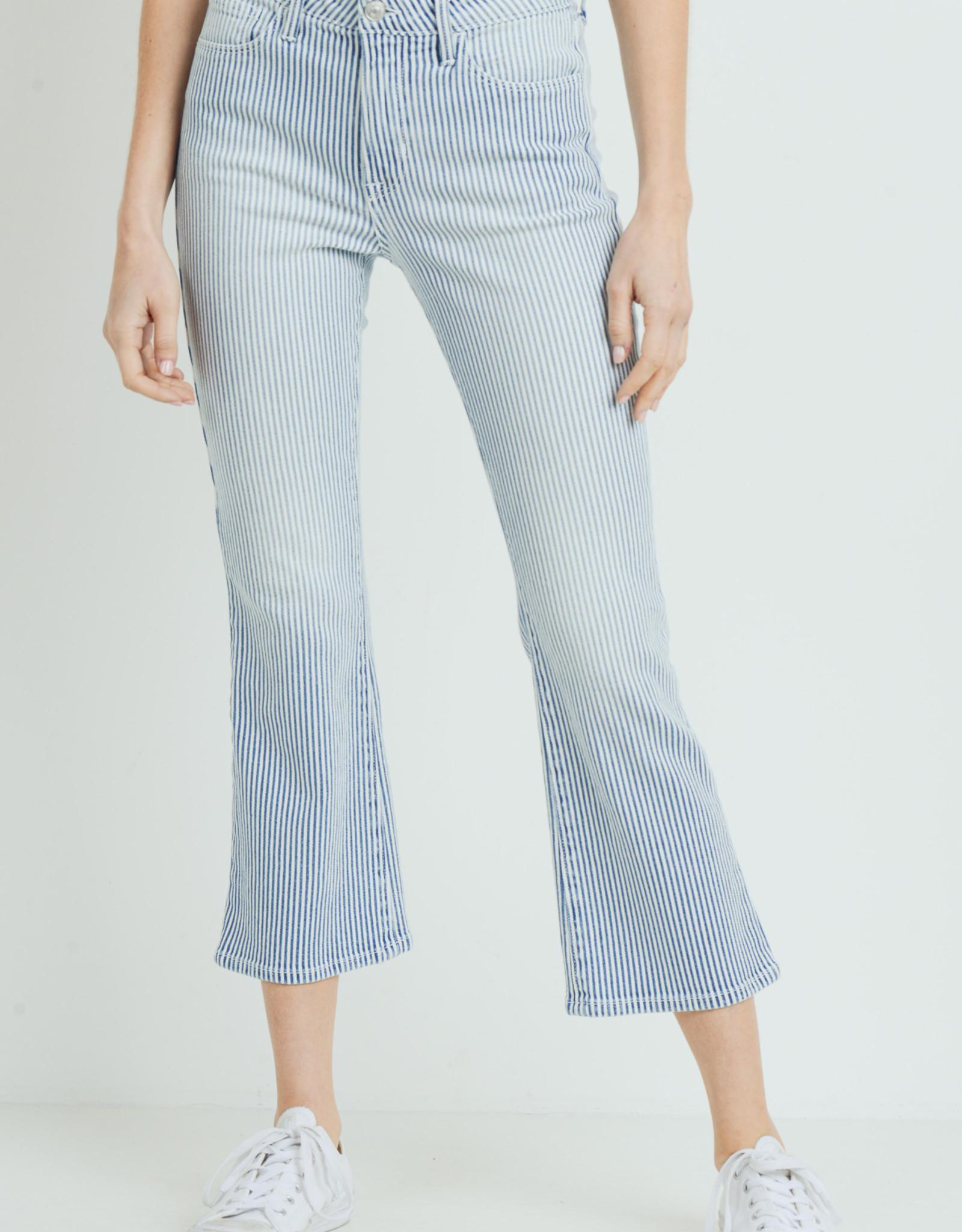 Just Black Cropped Denim Stripe Pants
