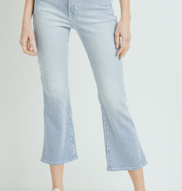 Just Black Cropped Denim Stripe Pants