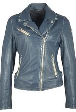 Mauritius Sofia Leather Jacket Denim Blue