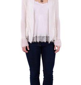 Gigi Moda Vera Silk Jacket with Ruffle - Cream