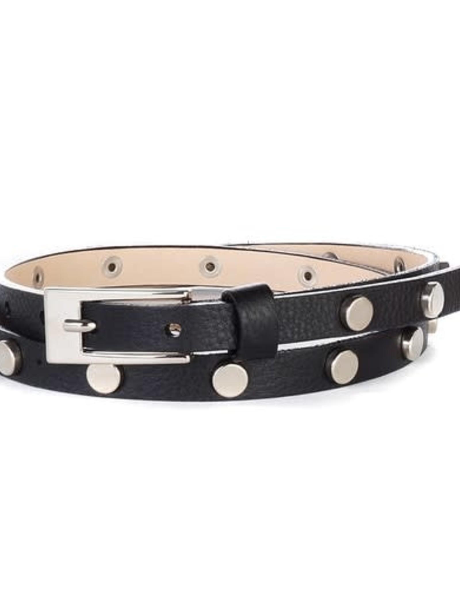 Brave Leather Maja Studded Skinny Belt Black