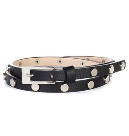 Brave Leather Maja Studded Skinny Belt Black