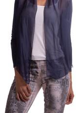 Shoona Cropped Silk Jacket Navy