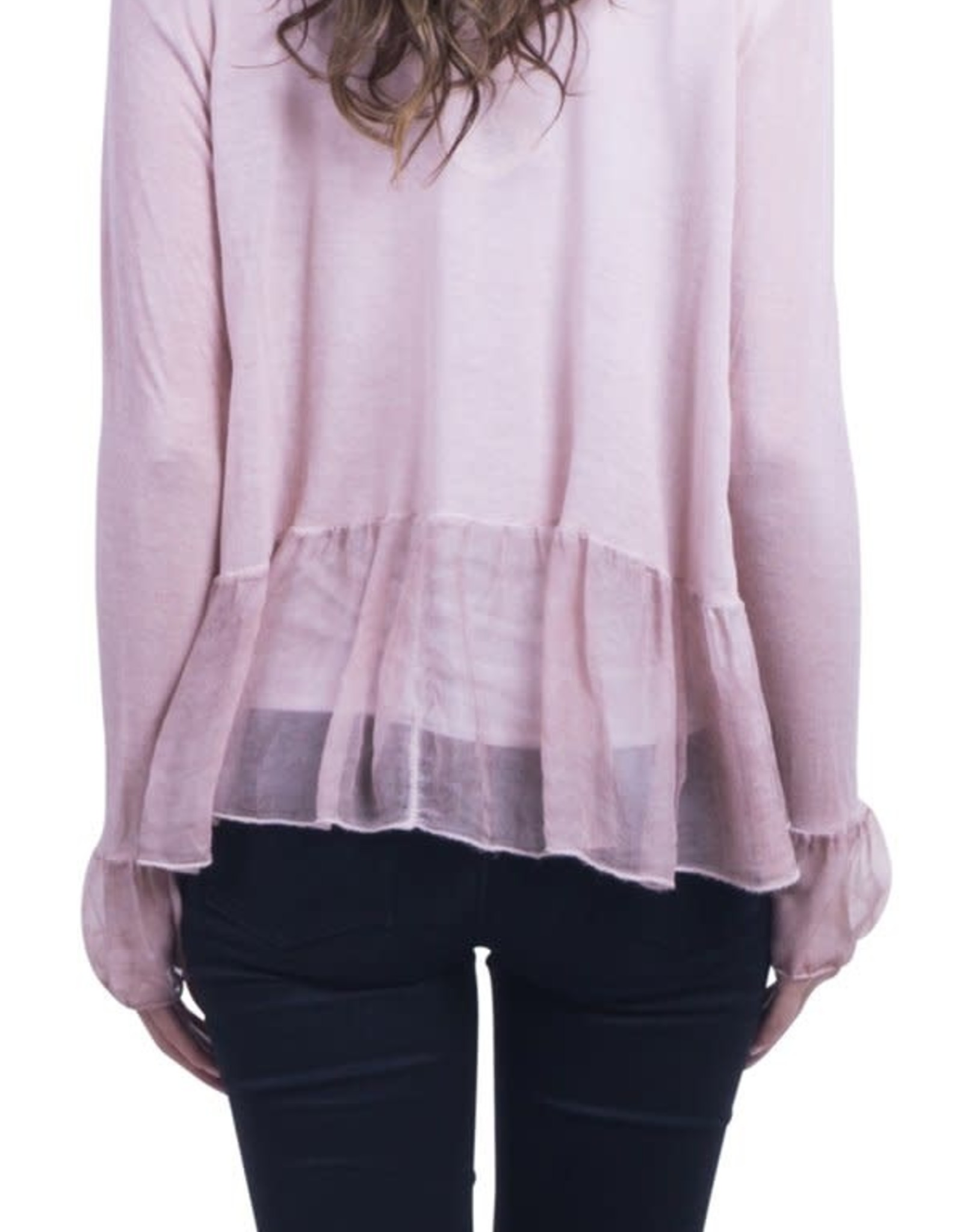 Vera Silk Jacket with Ruffle - Cream