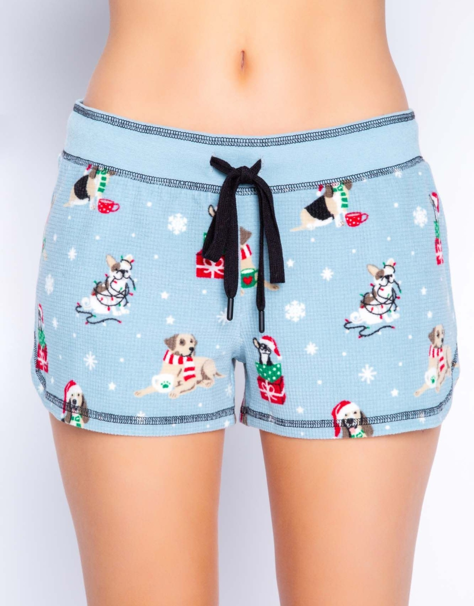 PJ Salvage Holiday Flannel Shorts - Ice Blue