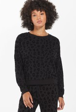 Z Supply  Flocked Animal Print Pullover Black