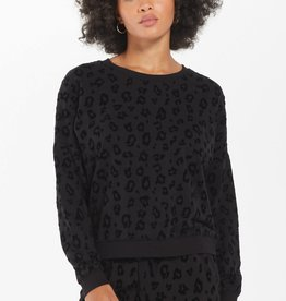 Z Supply Flocked Animal Print Pullover Black