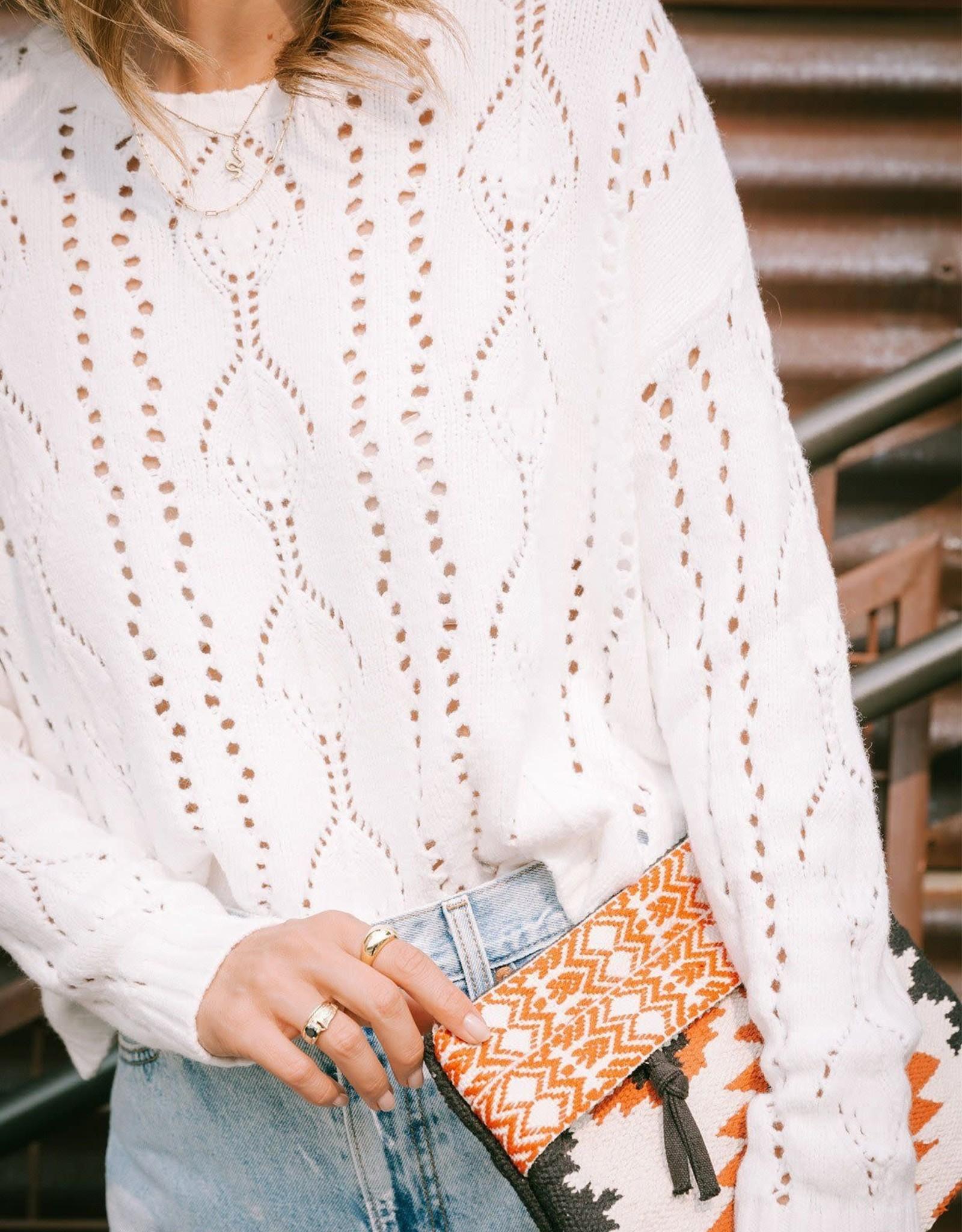 Lovestitch Pointelle Crew Neck Sweater