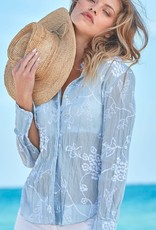 Cino Hydrangea Embroidered Shirt