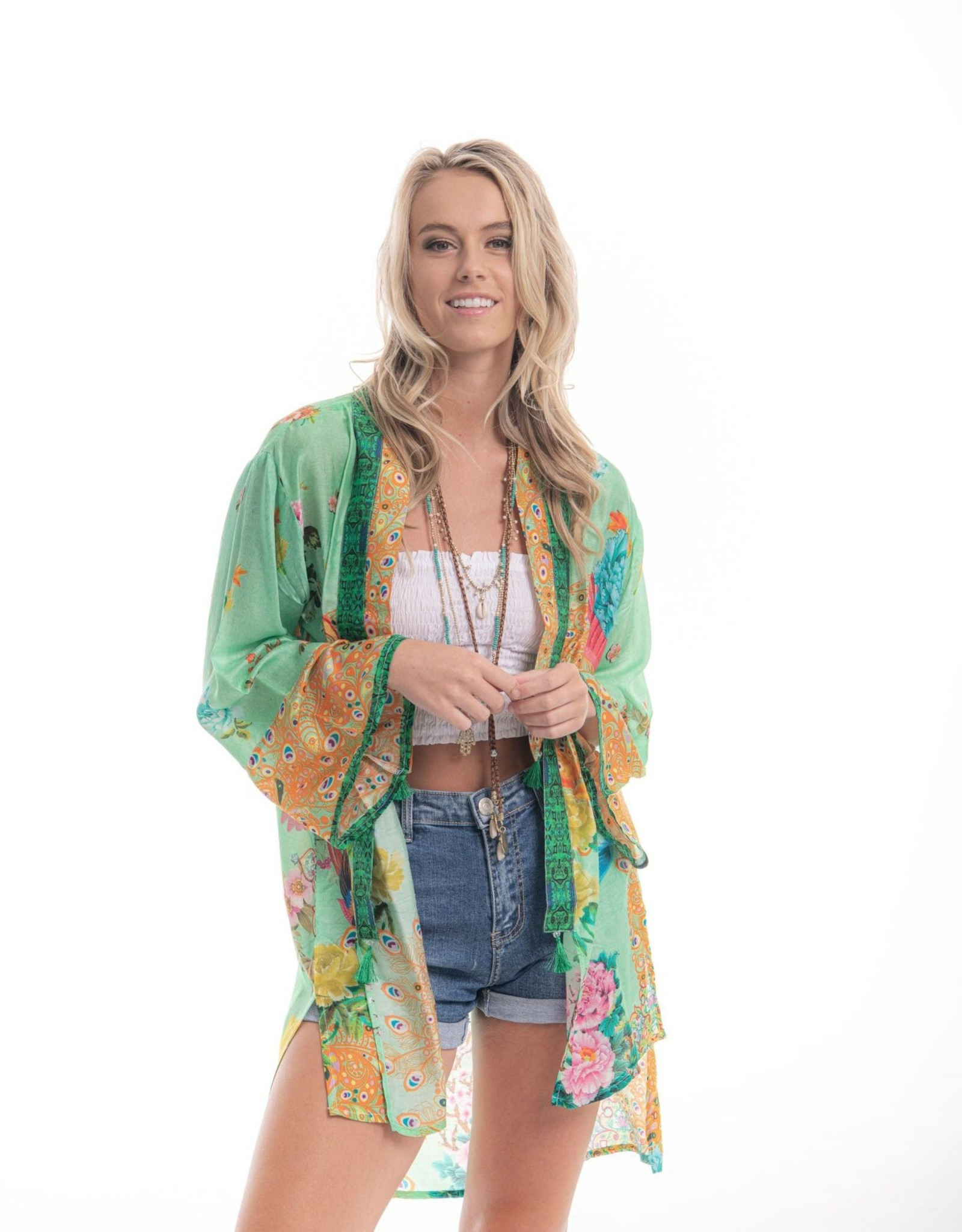 Cienna Lyre Bird Silk Kimono