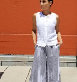 Inizio Linen Button Cropped  Pants