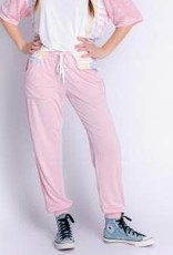 PJ Salvage Sunset Hues Crocheted Jogger Pant Pink