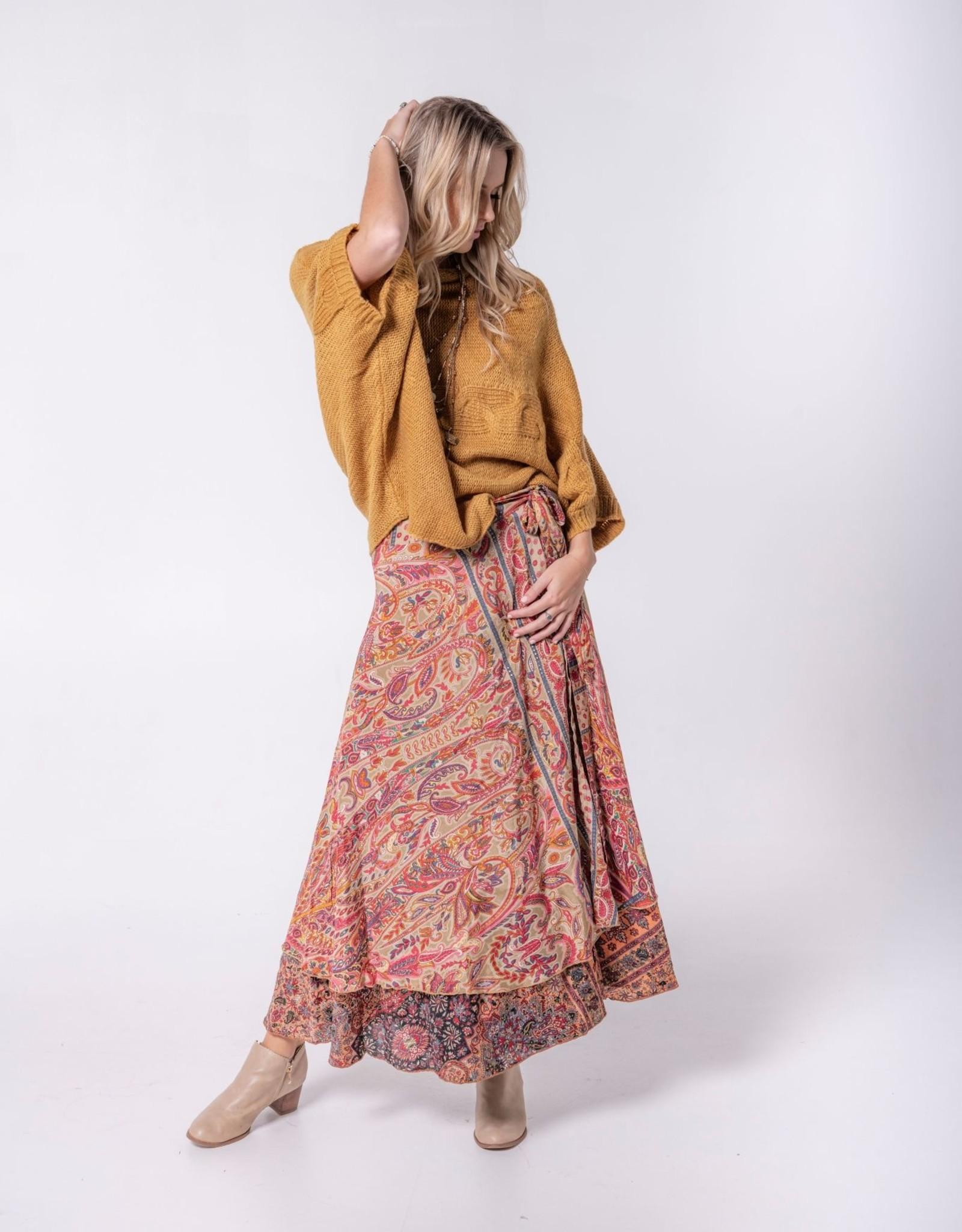 Cienna Silk Wrap Skirt Gold One Size