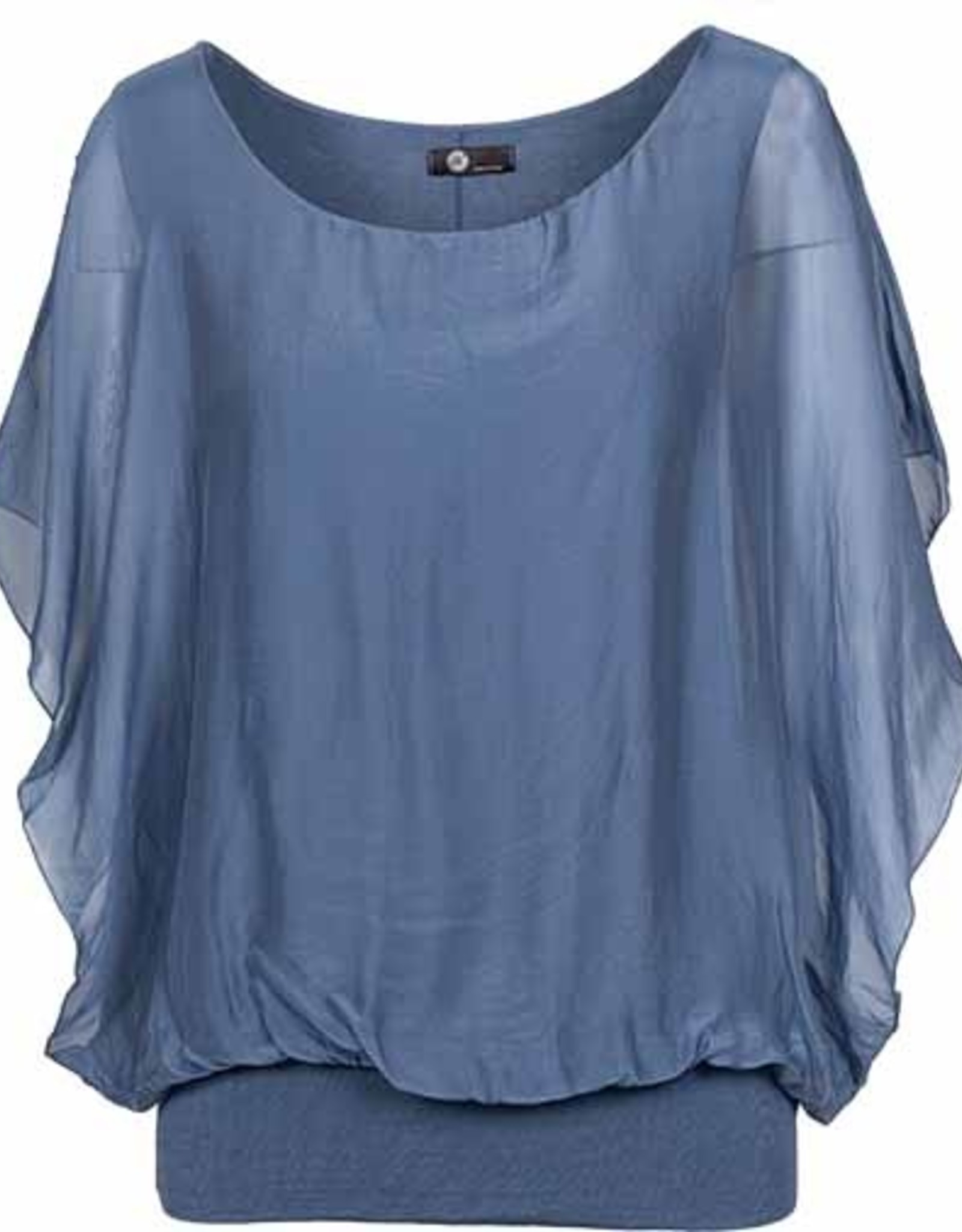 M Made in Italy Silk Blouson Top