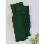 Fringed Napkins Set of 4, Dark Green