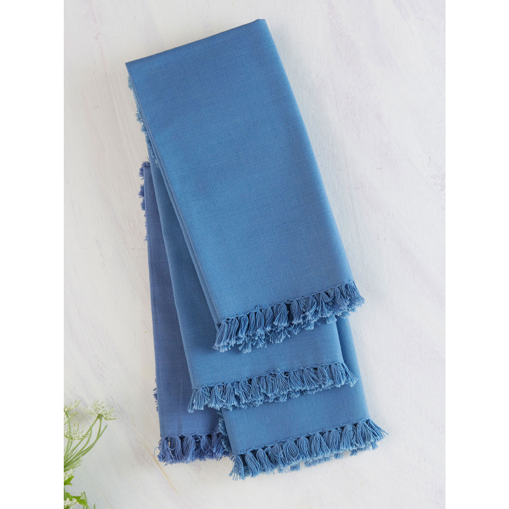 Essential Fringed Napkin Set of 4, Periwinkle