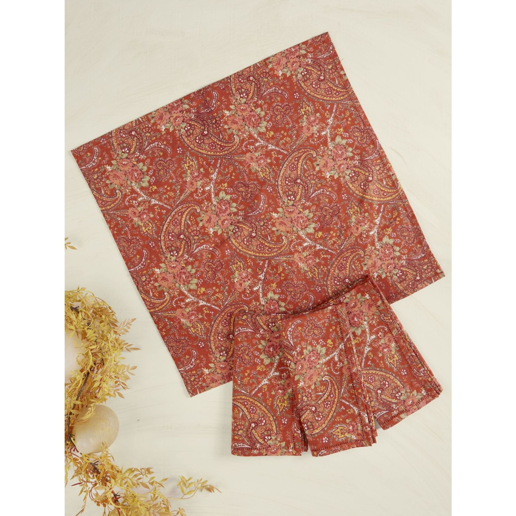 Garden Paisley Napkins Set of 4, Rust