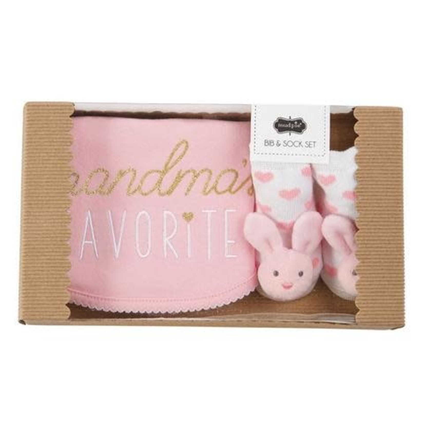 Mudpie Grandmas Favourite Bib Set, Pink