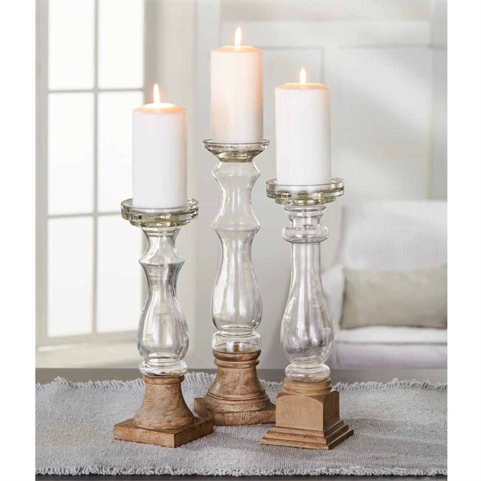 Glass & Wood Candlesticks