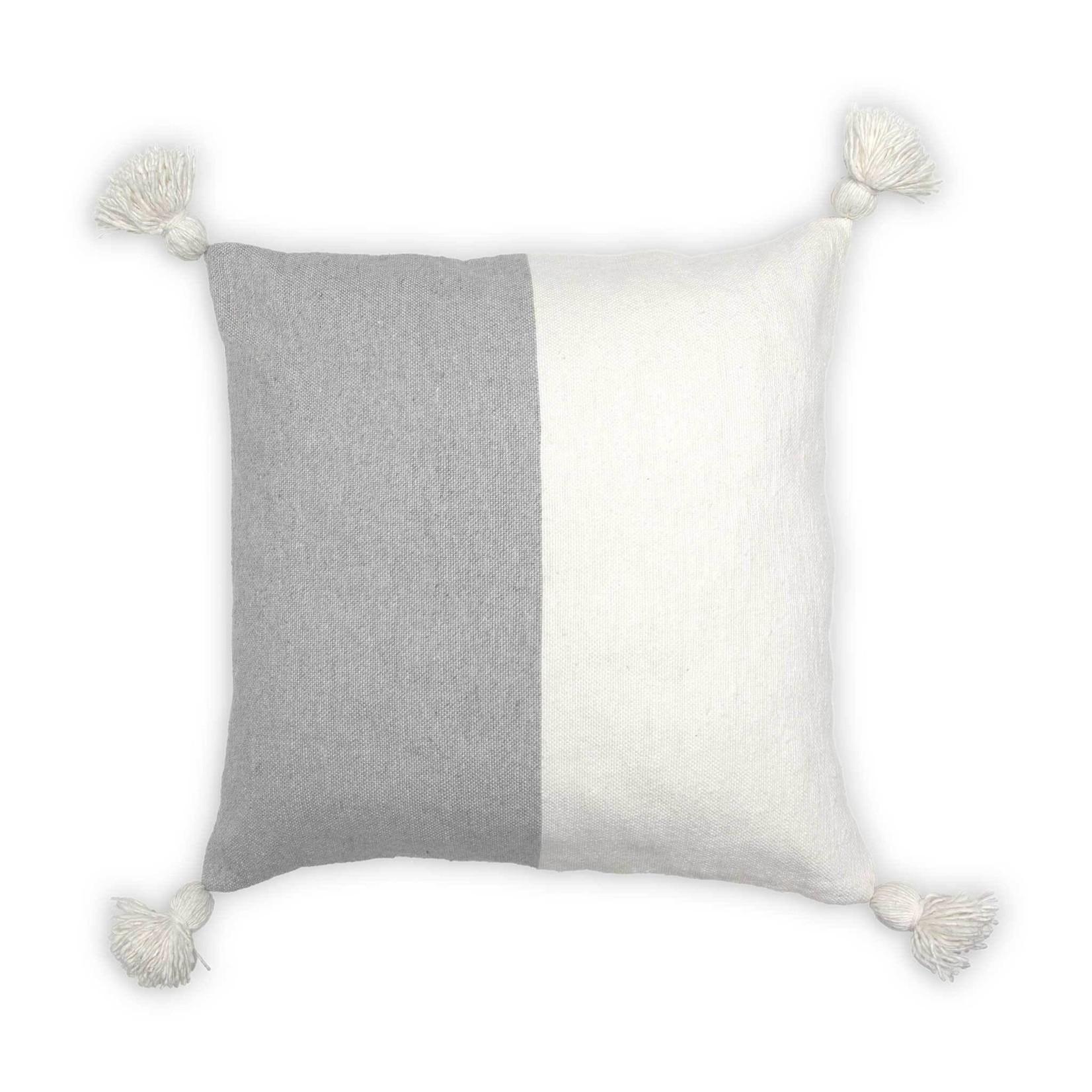 "Moroccan Pom Pom Pillow - 20""x20"" Half Light Grey"